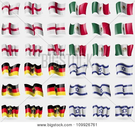 England, Mexico, Germany, Israel. Set Of 36 Flags Of The Countries Of The World.