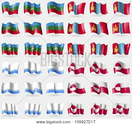 Karachaycherkessia, Mongolia, Altai Republic, Greenland. Set Of 36 Flags Of The Countries Of The