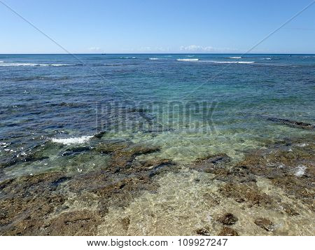 Shallow Ocean Waters With Coral And Small Waves Breaking In The Distance