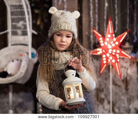 Pretty Little Girl With Flashlight