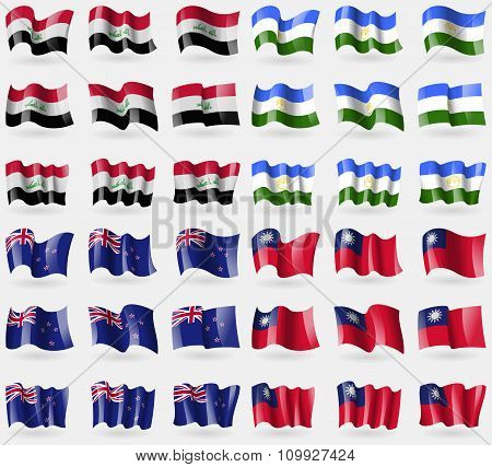 Iraq, Bashkortostan, New Zeland, Taiwan. Set Of 36 Flags Of The Countries Of The World.