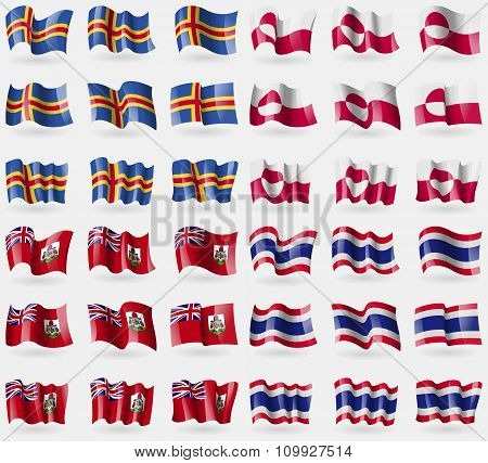 Aland, Greenland, Bermuda, Thailand. Set Of 36 Flags Of The Countries Of The World.