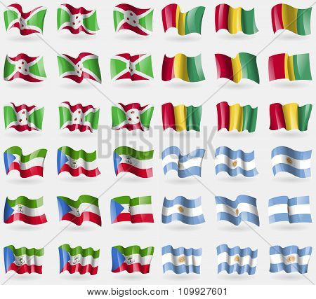 Burundi, Guinea, Equatorial Guinea, Argentina. Set Of 36 Flags Of The Countries Of The World.