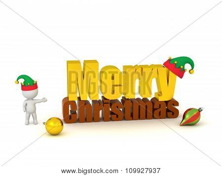 3D Character Showing Merry Christmas Text With Elf Hat