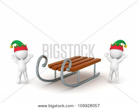3D Characters With Elf Hats Cheering And Toy Sled