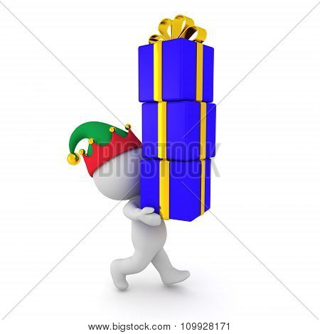3D Character With Elf Hat Carrying Wrapped Gifts