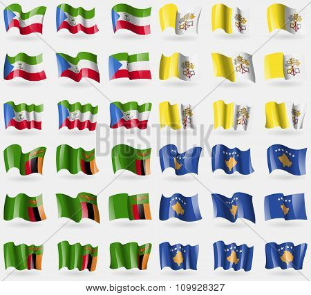 Equatorial Guinea, Vatican Cityholy See, Zambia, Kosovo. Set Of 36 Flags Of The Countries Of The