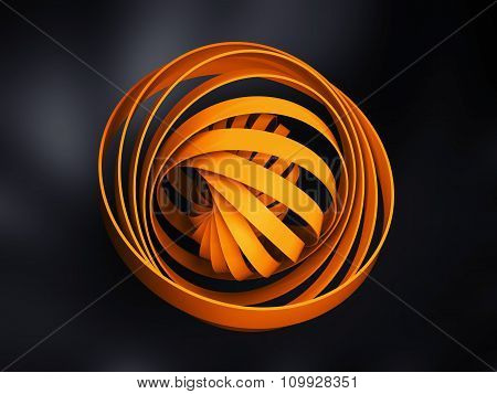 Abstract Digital Object Made Of Yellow 3D Round Spiral