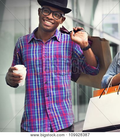 Shopping Man Happiness Consumer  Commerce Concept