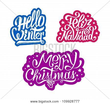 Merry Christmas and Feliz navidad stickers