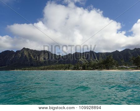Waimanalo Bay With Beach And Koolau Mountians