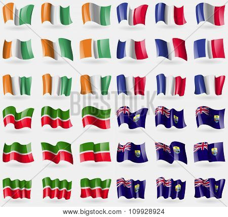 Cote Divoire, France, Tatarstan, Saint Helena. Set Of 36 Flags Of The Countries Of The World.