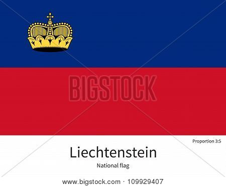National flag of Liechtenstein with correct proportions, element, colors