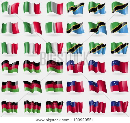 Italy, Tanzania, Malawi, Samoa. Set Of 36 Flags Of The Countries Of The World.