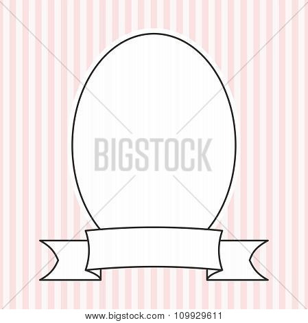 Vector frame on pastel pink and white stripes background