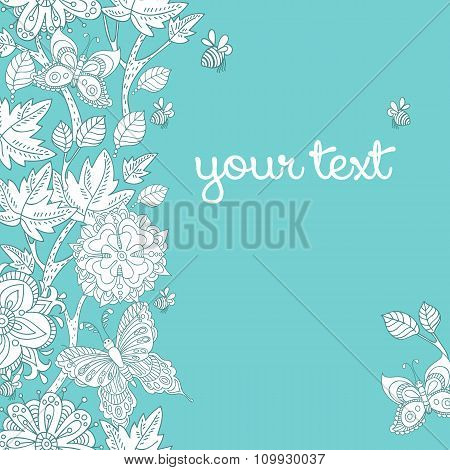 Vector floral template for greeting card