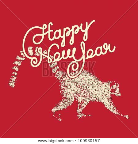 Happy New Year invitation. Year of Red Fire Monkey. Elegant hand drawn lettering. vector illustration