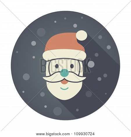 Santa Claus face. Christmas icon.