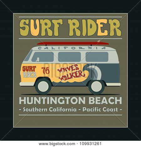 Surfing t-shirt graphic design. Vintage Retro Surf BUS