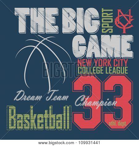 Basketball t-shirt graphic design. New York