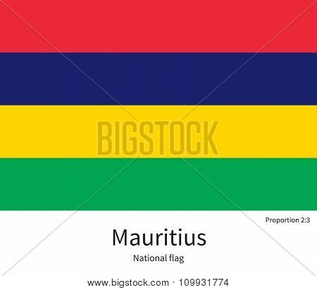 National flag of Mauritius with correct proportions, element, colors