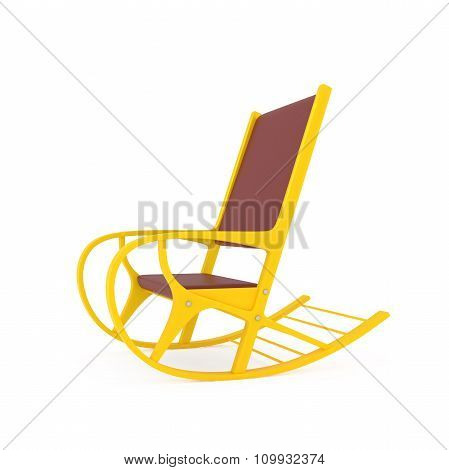 Orange Rocking Chair Isolated On White