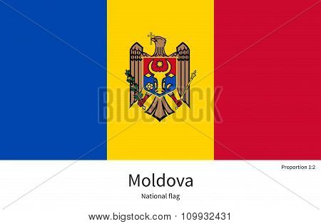 National flag of Moldova with correct proportions, element, colors