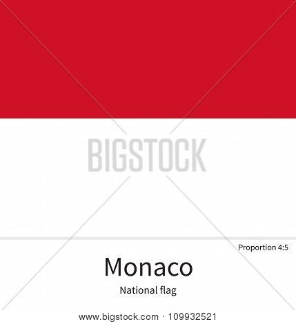 National flag of Monaco with correct proportions, element, colors