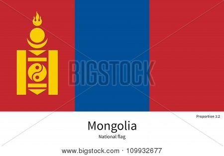 National flag of Mongolia with correct proportions, element, colors
