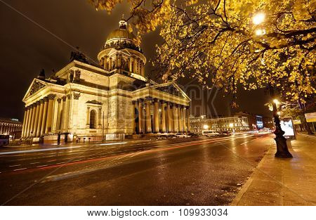 ST. PETERSBURG, RUSSIA - OCTOBER 23, 2015: Night view of St. Isaac's cathedral in autumn. It is the largest orthodox basilica and the fourth largest cathedral in the world