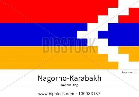 National flag of Nagorno-Karabakh with correct proportions, element, colors