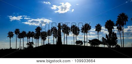 Long Beach California With Shoreline Palm Trees And Lighthouse