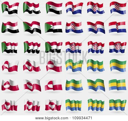 Sudan, Croatia, Greenland, Gabon. Set Of 36 Flags Of The Countries Of The World.