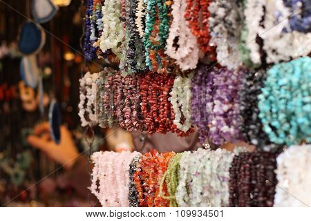 Colorful Necklaces On Christmas Market