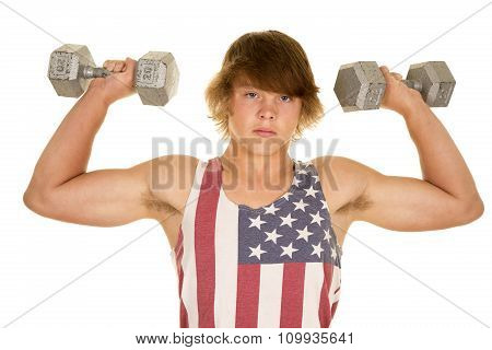 Young Man In Flag Shirt Weights Up Flexing