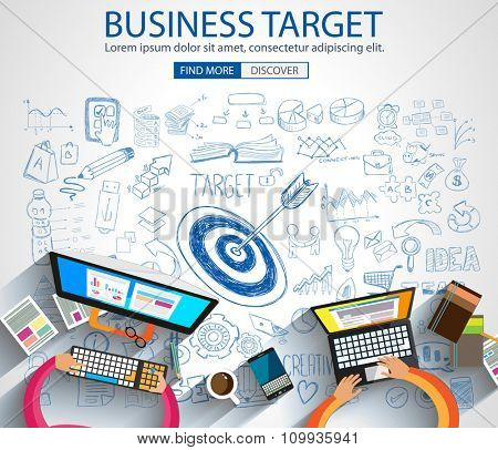 Business Targe Concept with Doodle design style :finding solution, brainstorming, creative thinking. Modern style illustration for web banners, brochure and flyers.
