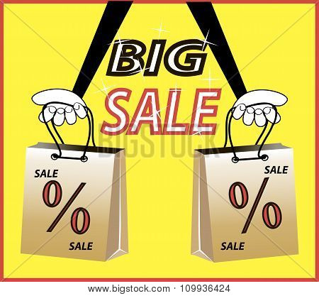Big sale! Caption percent discount, shopping bags in hand on bright yellow background.Cartoon vector