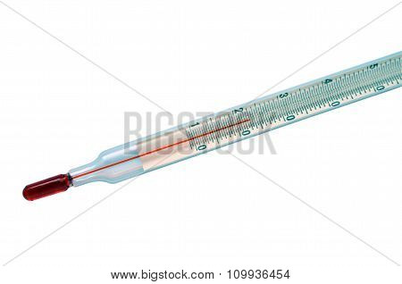 Alcohol thermometer isolated on white