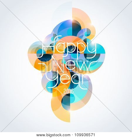 New Year colorful design. Typographic poster.