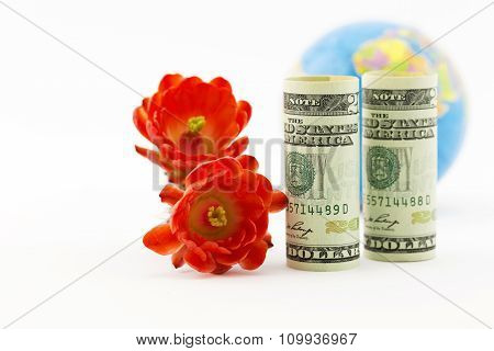 American Currency, Crimson Blossoms, And Globe
