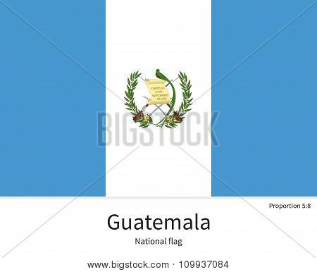 National flag of Guatemala with correct proportions, element, colors
