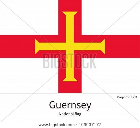 National flag of Guernsey with correct proportions, element, colors