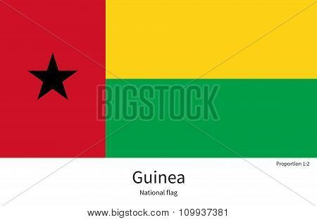 National flag of Guinea with correct proportions, element, colors