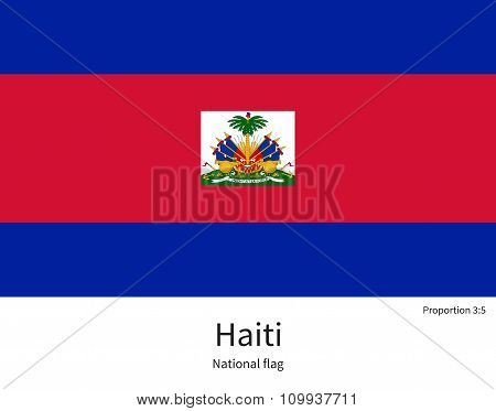 National flag of Haiti with correct proportions, element, colors