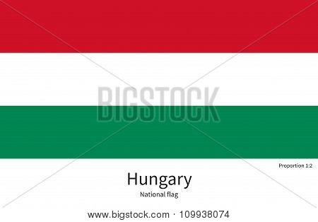 National flag of Hungary with correct proportions, element, colors