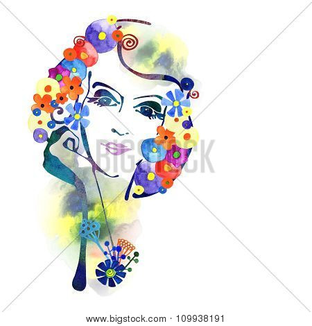 Watercolor Decorative background with woman face 4