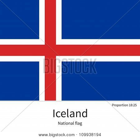 National flag of Iceland with correct proportions, element, colors