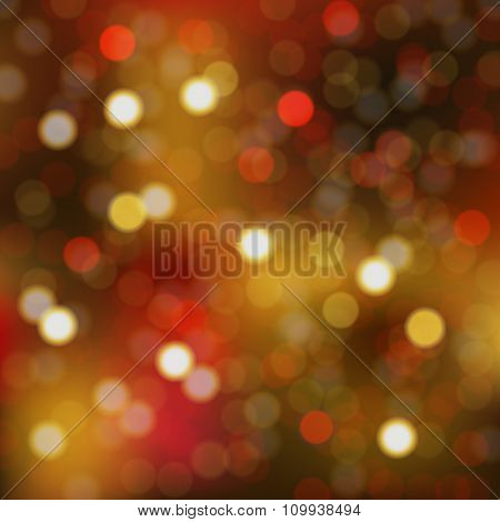 Christmas Bokeh With Gradient Mesh, Vector Illustration