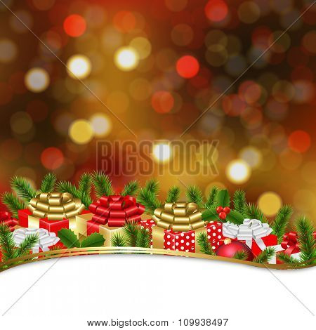 Holiday Xmas Gift Border With Gradient Mesh, Vector Illustration