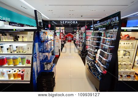 SINGAPORE - NOVEMBER 08, 2015: interior of Sephora store in The Shoppes at Marina Bay Sands. Sephora is a French brand and chain of cosmetics stores founded in Paris in 1970